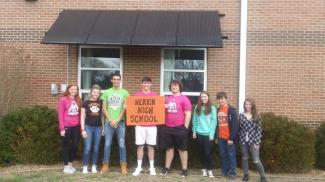 HERRIN HIGH SCHOOL SOLAR PANELS WITH STUDENTS